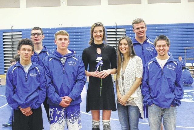 "Seniors in the Washington High School wrestling program were honored Thursday evening during ""Senior Night."" Pictured (L to R): wrestler Tre Thomas, wrestler Tyler Crum, wrestler Ethan Stewart, statistician Kynzie Osborne, statistician Jerrica Hites, wrestler Trevor Hicks and wrestler Zach Jordan."