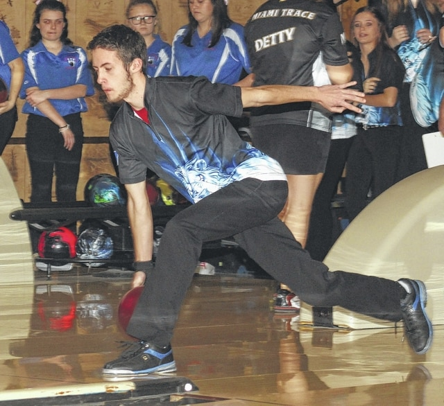 Washington's Brandon Underwood (pictured during warm-ups prior to a match against Clinton-Massie) bowled a perfect 300 game later that same evening, Wednesday, Jan. 11, 2017 against Massie at LeElla Lanes. It was Underwood's first career 300 game.