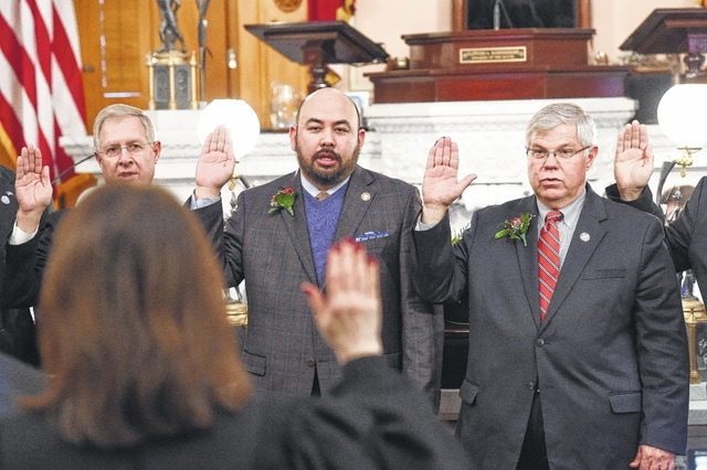 State Rep. Gary Scherer (right) was sworn in Tuesday to his third term as a member of the Ohio House of Representatives for the 92nd House District.