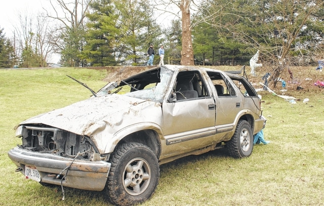 A 25-year-old Greenfield woman who was operating this 2000 Chevrolet Blazer was killed Thursday afternoon following the accident.