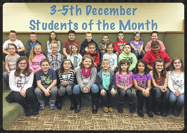 The following third through fifth graders were named: front row: Peyton Johnson, Ayden Cumberland, Mya Babineau, Adrienne Jacobson, Eli Kerwood, Laine Holstein, Na'veaha Jones, Michelle Forand and Alexis Scurlock. Middle row: Jaylyn Stanley, Dylaney Templin, Mallory Johnson, Katie Cordell, Trey Robinette, Emily Reeeves, Joey Ritchie and Raymond Johnson. Back row: Tanner Campbell, Drake Sharp, Chrislin Hawkins, Kaleb Wysong, Eli Fliehman, Joshua Lewis, Connor Barga, Adriel White and Blake Steele. Not pictured: Caydence Beers, Dreamer Sims and Layla Trisdale.