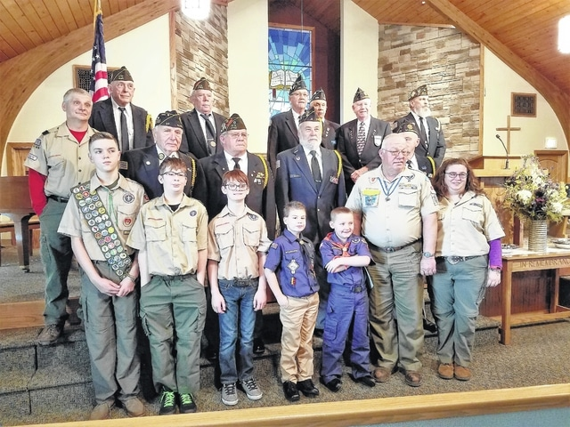 Members of Jeffersonville Boy Scout Troop 67, Jeffersonville Cub Scout Pack 67 and The Fayette County Honor Guard celebrate Scout Sunday and Four Chaplains Sunday at the Fayette Bible Church on Feb. 5. Pictured (L to R): front row: Jacob Downing, Noah McMurray, Braden Johnson, Aaron Brown, Jameson Furniss, Mark Hoppes and Tracey Rankin Coe; second row: Eddie Fischer, Cecil Ratliff, Glenn Rankin and Dave Fredericks; third Row: Dave Bunch, Phil French, Tom Slager, John Mason, Buck Harris, Ed Helt and James Thayer.