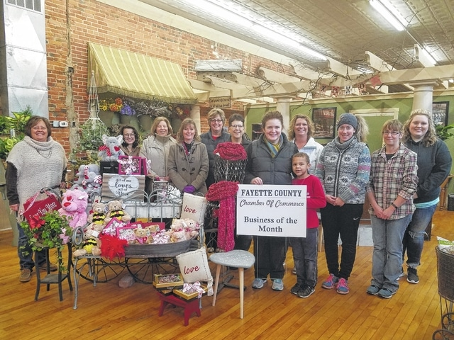 Back-En-Thyme Flower & Gift Shop, 101 E. Court St. in Washington C.H., was named the Chamber of Commerce Business of the Month for February. The store offers fresh cut flowers, silk arrangements, candy, gifts, home décor and more. According to their motto: When ordinary just won't do, call Back-En-Thyme and they'll create it just for you! Owner Kendra Hernandez, son Matticks and staff are joined by the Chamber Ambassador Team.