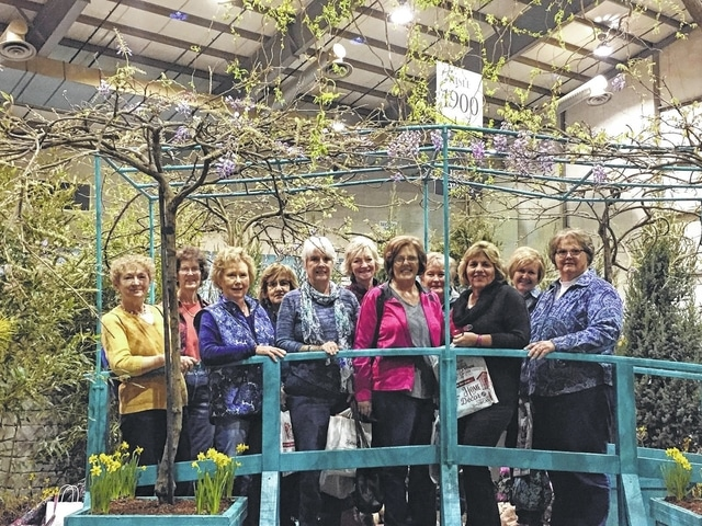 The Deer Creek Daisies recently traveled to Columbus to visit the Columbus Dispatch Home and Garden Show at the Ohio Expo Center. Pictured are ladies who attended (L to R): Marty Cook, Barbara Vance, Connie Lindsey,a special guest for the day- Nancy Evans, Julie Schwartz, Emily King, Jeanne Miller, Kendra Knecht, Shirley Pettit, Billie Lanman and Joyce Schlichter.