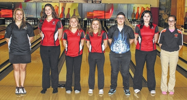 FIRST TEAM, ALL-SCOL GIRLS BOWLING — The top seven bowlers (by average) on the season after the SCOL tournament Thursday, Feb. 9, 2017 at LeElla Lanes, (l-r, 1st-7th); Macy Detty, Miami Trace (202); Maddy Miller, Hillsboro (193); Alexis Bailey, Hillsboro (186); Aleigh Tarbutton, Hillsboro (180); Kalee Crowe, Washington (177); Mary Herman, Hillsboro (171) and Katie Hottinger, Wilmington (170).
