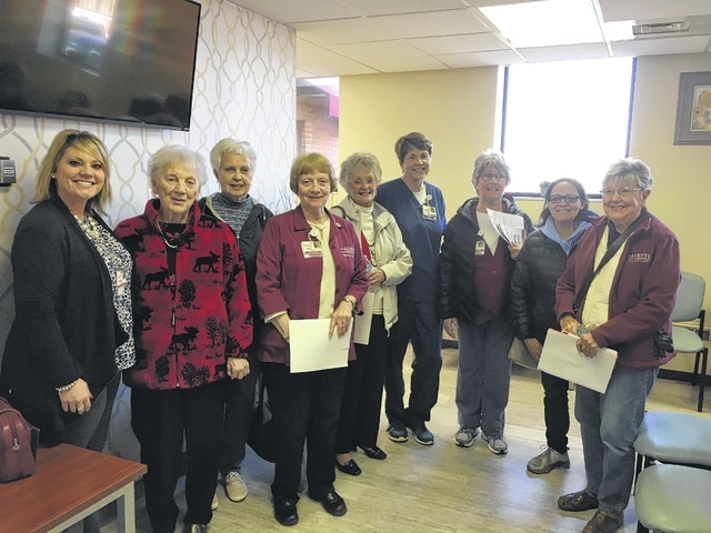 The new Fayette Memorial Hospital surgery room was open to the Hospital Auxiliary to view on their meeting date. Chelsie Hornsby, director of business development/marketing & foundation, and Mary Dye, clinical staff coordinator, gave the group a tour of the new unit. Shown are Ms. Hornsby, Sonja Seiler, Maxine Wolf, Joyce Lott, Sharon Irons, Ms. Dye, Suzanne Kidd, Vicki Cardenas and Ann Blake. There will be an open house Feb. 21 at 4:45 p.m., which is open to the public.