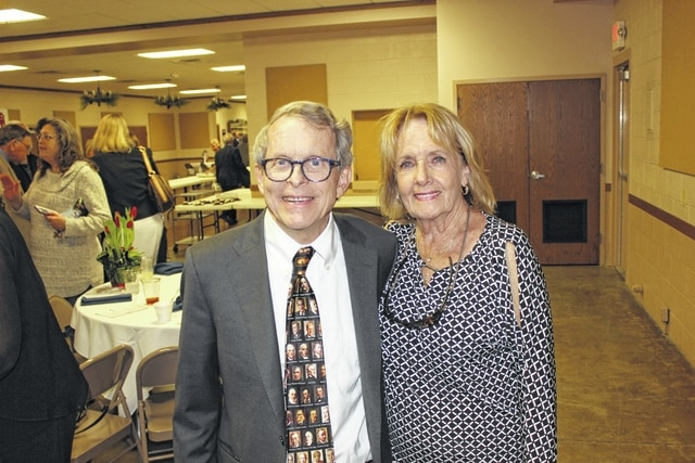 Carol Cramer, of Bloomingburg, poses with Ohio Attorney General Mike DeWine following Monday's Lincoln Day Dinner.
