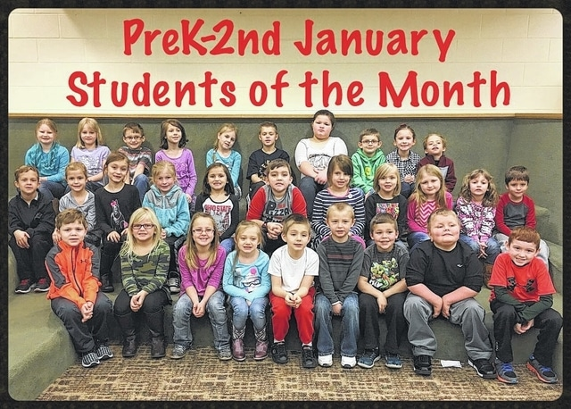 The Miami Trace Elementary School recently named the K-2 January students of the month. Front row: Drew Sharp, Aliya Wolffe, Audrey Campbell, Jenna Wisecup, Zachary Lewis, Javen Palmer, Bailey Miller, Xander Cummings and Grayson Harris. Middle row: Caleb Esker, Emily Parsley, Aubrey Creed, McKenna Payton, Emma Hoppes, Kyler Leisure, Tillie Abbott, Kelsie Mullen, Karlee Knisley, Adelaide Anderson and Isaiah Langley. Back row: Emaleah Phillips, Anna Langley, Anthony Shipley, Kyah Stickel, Mercedes Keller, Judson Layman, Lindsey Lightle, Joenus Eakins, Allison Carter, Kale Snodgrass Not Pictured: Maria Jackson, Lincoln Rhoades and Karis Fallon.