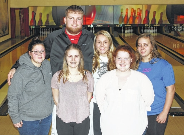 SECTIONAL CHAMPIONS — Members of the Miami Trace girls bowling team are pictured at practice Thursday afternoon, Feb. 23, 2017 as they prepare for Friday's District tournament. (front, l-r); Hayley Tipton, Hannah Miller, Shira Beedy; (back, l-r); coach Kaleb Taylor, Macy Detty and Brittany Peters. Not pictured: Emily Powell and Mckenzie Miller.