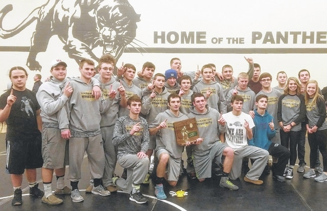 The Miami Trace wrestling team is pictured after winning a Division II Regional championship in the State Dual Team Tournament Wednesday, Feb. 1, 2017 at the Miami Trace Middle School. The team competes at the State tournament at St. John Arena Sunday, Feb. 12 at 11 a.m.
