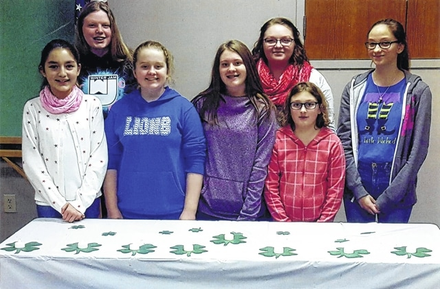 The Packrat Crafters 4-H Club installed new officers for 2017 recently. Pictured (L to R): treasurer Samantha Moore, safety officer Emilee Wilson, secretary Emma Whistler, news reported Abby Joseph, vice president Mariah Carter, health officer Lauren Joseph and president Eva Smalley.