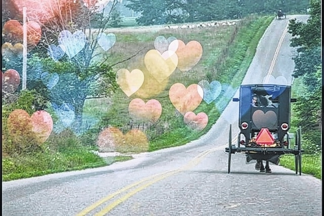 A buggy with superimposed hearts for Valentine's Day.