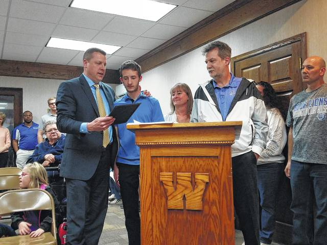 The school board honored several student-athletes at the recent meeting. The first was Brandon Underwood, a junior at Washington High School who qualified for the state bowling tournament this year where he placed 16th out of 100 bowlers. Also Underwood managed to bowl his first perfect game, a 300, this year.