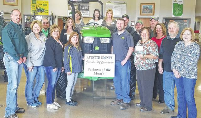 March is a time to think green for St. Patrick's Day and spring. The Fayette County Chamber of Commerce Ambassador team was also thinking green when they named JD Equipment the Chamber Business of the Month. Located at 1662 State Route 62 SW, the company offers sales, service and parts for lawn and garden, agricultural and commercial needs.