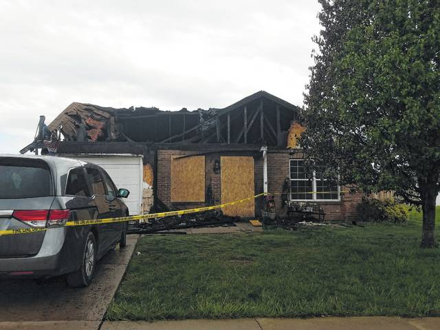 A fire decimated this home Wednesday night at 882 Pin Oak Place in Washington C.H. No injuries were reported.