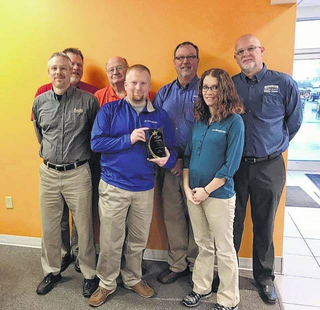 The Gusweiler's GM sales team was presented with the award for Top Sales CSI (customer service index) in the Columbus area for 2016. Congratulations. Pictured (L to R): front row: Keith Burns, James Reese and Tiffany Cole. Back row: Mark Bottorff, Max Hughes, Rick Fagan and Troy Bock.