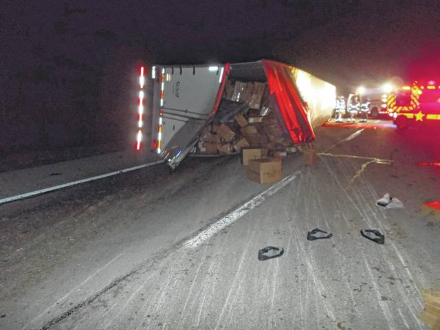 One semi tractor-trailer involved in a three semi-truck accident Tuesday morning rolled over on Interstate 71 in Jasper Township. The accident caused major traffic issues on I-71 throughout the day. One person was injured in the crash.
