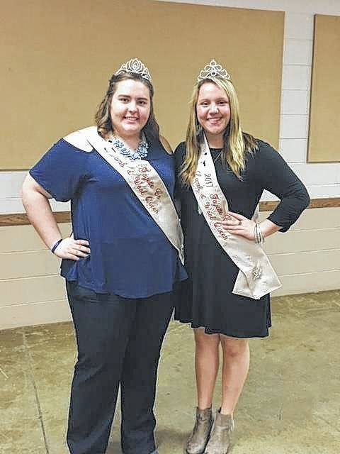 The new Lamb and Wool Queen was crowned during the Shepherds Club Banquet that was held Monday. Pictured is past Lamb and Wool Queen Chloe Lambert (left) with the 2017 queen, Macy Detty (right).