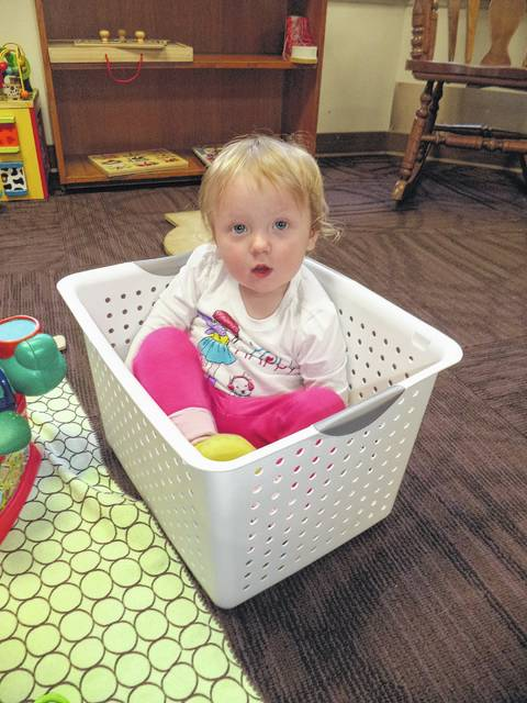 Kara enjoys playtime following story and songs at Carnegie Public Library's Books and Babies Program. Books and Babies, for babies up to 1-year-old, takes place on Tuesdays at 11:15 a.m.