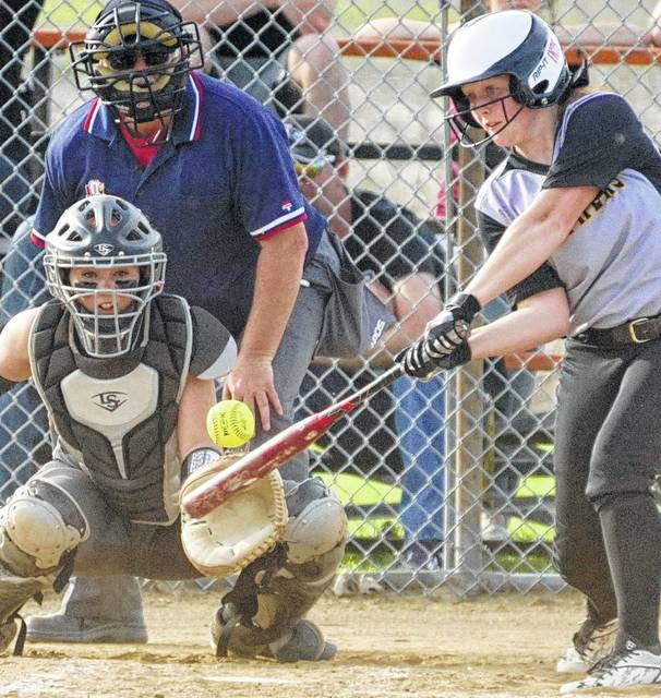 Miami Trace sophomore Jessica Camp connects for a base hit during an SCOL game at Wilmington High School Friday, April 14, 2017. Wilmington won this game, 6-2. Please see a future edition of the Record-Herald for a report.