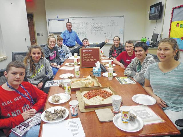 "Donatos recently provided pizza to these students at Washington Middle School as they celebrated ""Pizza with the Principals."" This is in appreciation for their selection as Students of the Month for March. They are chosen by their teachers because of the outstanding example they set for their peers in such areas as academic effort, good work ethic, kindness to others, and service to their school. Pictured from left: Mason Cottrill, Morgan Michael, Mallory Hicks, Brooklyn Foose, (Mr. Montgomery, Assistant Principal), Wes Pickering, Jessika Young, Tyler Tackage, Chris Runnels and Joshalynn Worth. Absent from photo was Logan Bailey."