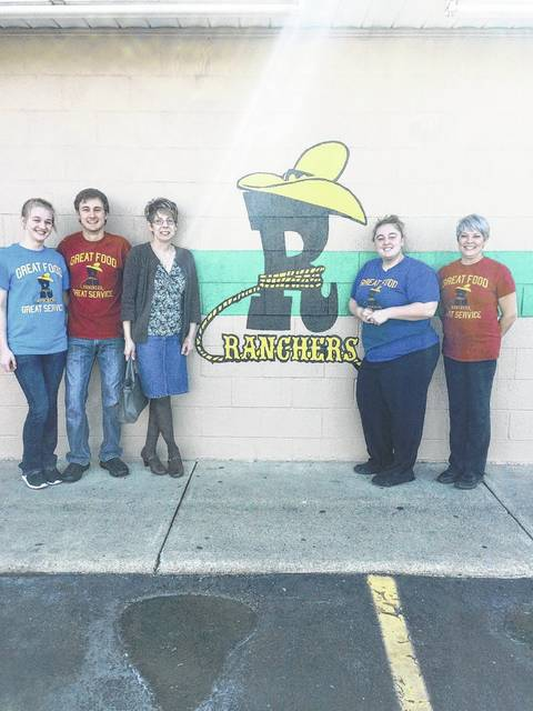 The Hike for Hospice will be held on Sunday, April 30 at 3 p.m., beginning and ending at Merchants National Bank at 128 S. North St. in Washington Court House. For the entire month of April every apple or cherry turnover purchased at Ranchers Roast Beef will net a 25 cent donation to Hospice. Pictured (L to R): Megan Rohrer (Ranchers employee), Grant Hanna (Ranchers employee), Lynda Wilt Hospice of Fayette County Executive Director, Sydney Wollscheid (Ranchers employee) and Jackie Myers (Ranchers employee).