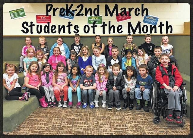 "The following students received recognition for being ""Students of the Month"" for March at Miami Trace Elementary School. These students were chosen for showing that they are trustworthy at school each and every day. The students selected for PreK through second grade were: front row: Harley Boysel, Taylor Matthews, Maya Rickman, Gabby Moore, Pierce Dawson, Paloma Seba-Mixtega, Karissa Clark, Diesel Barnett, Esmeralda Rodriguez Pena, Waylon Arnold and James Bethel. Middle row: Lexie Schmitz, Alexues Smith, Josilin Steele, Taegan Wood, Mallee Wilson, Evelyn Gulley, Jordan Ferguson, Allisson Juarez-Ramirez, Annabel Teter and Craig Beaver. Back row: Kaylee Craig, Wade Charters, Alecia Alonzo, Colton Chapman, Brenda Utrera, Madison Huston Johnathon Wolfe, Liam Havens and Natalie Pitstick. Not pictured: Jimmy Trent, Xyla Scott and Autumn Montgomery."
