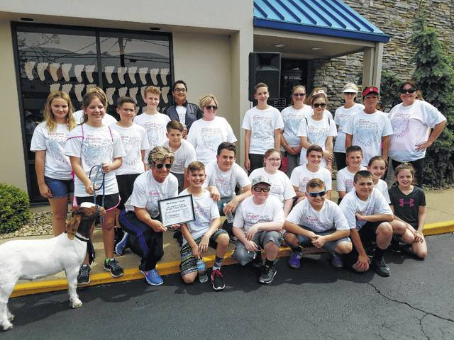"The Fayette County Hike for Hospice was held Sunday afternoon and included a large crowd. The Miami Trace Middle School Student Council was one of the teams awarded and earned the ""most hikers award for a youth group."""
