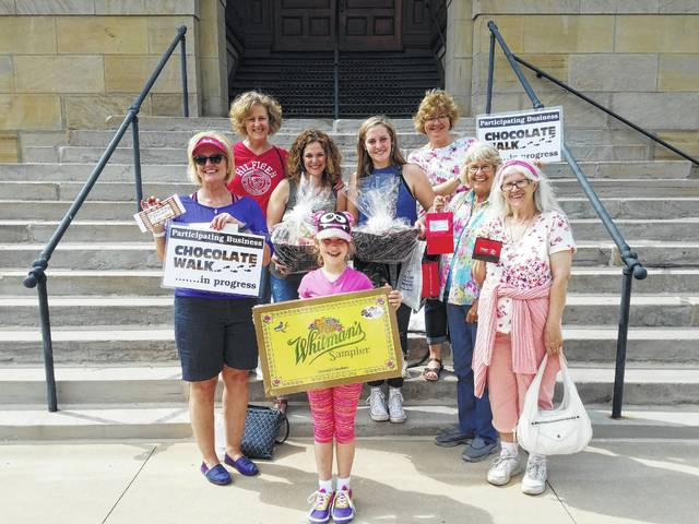 The second-annual Chocolate Walk was held on Saturday in downtown Washington C.H. and several residents were selected to win one of eight door prizes. Winners were (L to R): Beth Brannigan, Sue Smith, Kristen Hauer, Ryleigh Russell, Riley Davis, Bridget Sollars, Charlene Sexton and Mary Mick.