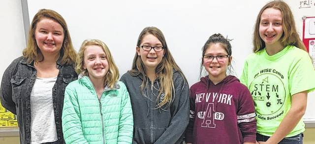 Every summer, AAUW along with MTMS and WMS sponsor girls to attend the Be WISE camp. From left to right, Jada Gilpen, Ella Watson, Meadow Cooper, Emily Coonrod and Lahni Stachler.