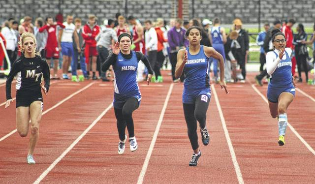 The 100-meter dash semifinals were held Tuesday, May 9, 2017 at Hillsboro High School. (l-r); Macy Creamer, Miami Trace; Preslee Rolf, Clinton-Massie and Rayana Burns and Tahja Pettiford of Washington. Burns won this SCOL title in this event, as well as the 200-meters, 400-meters and the high jump.