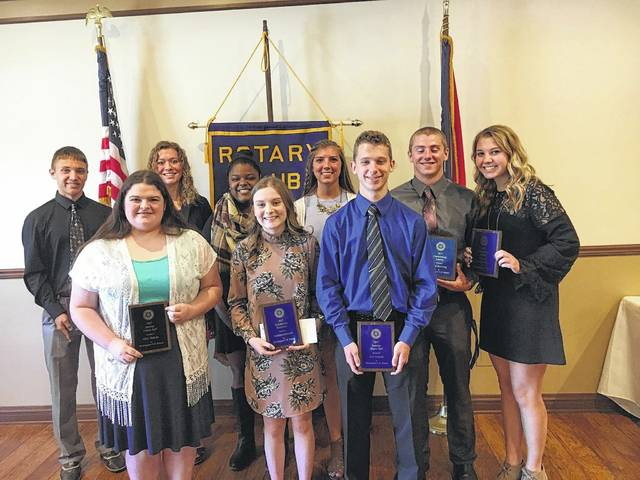 The Washington Rotary Club recently awarded local students from Miami Trace High School and Washington High School. The following awards were presented: Outstanding Athlete: Blake Pittser and Madalyn Wayne; Service Above Self: Mary Jenkins and Seth Hanusik; Outstanding Scholars: Blake Pittser, Clare Sollars, Allison Streitenberger and Liam Downing; Rotary Scholarship recipients: Daria Thomas and Gretchen Milstead. Pictured (L to R): Front row: Mary Jenkins, Gretchen Milstread and Seth Hanusik. Back row: Blake Pittser, Clare Sollars, Daria Thomas, Allison Streitenberger, Liam Downing and Madalyn Wayne.