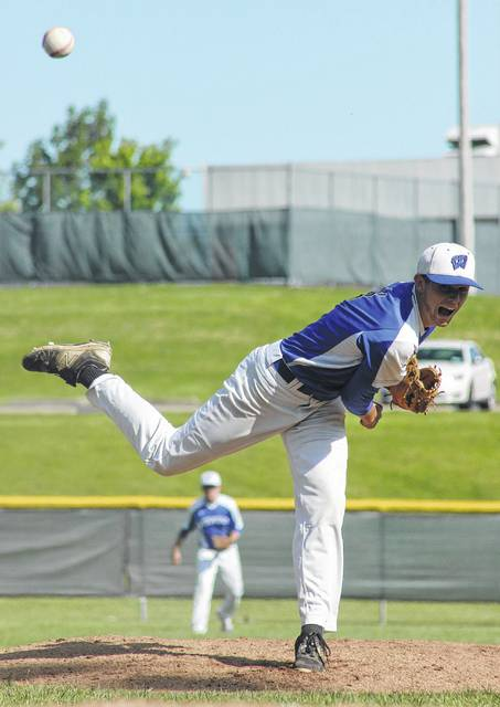Jarett Patton delivers a pitch for the Blue Lions during a Division II District semifinal game against Marietta Monday, May 15, 2017.