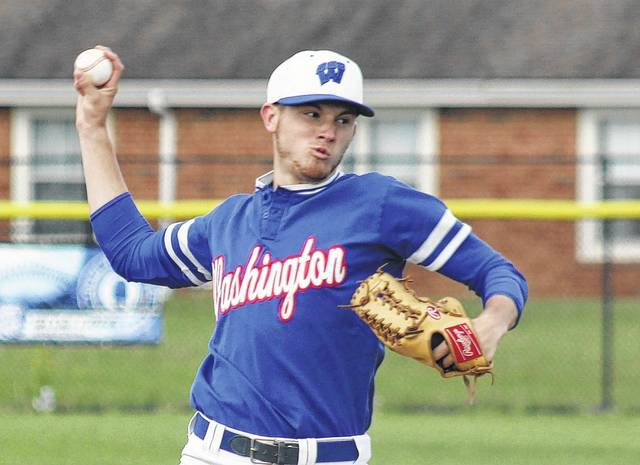 Jarett Patton delivers a pitch for the Blue Lions during their game against Miami Trace Monday, May 1, 2017 at Washington High School. Patton threw a complete game for Washington to earn the win.