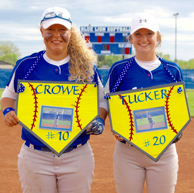 Washington honored its softball seniors Friday, April 28, prior to the game against McClain. (l-r); Kalee Crowe and Meghan Tucker. Not pictured: Ashton Carr.