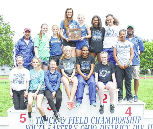The Washington Lady Blue Lions placed second at the Southeast District Division II track meet Saturday, May 20, 2017.
