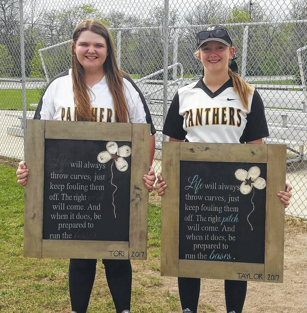 Miami Trace honored its two seniors, Tori Riley (left) and Taylor Barrett, prior to the game against Clinton-Massie Friday, April 28, 2017.