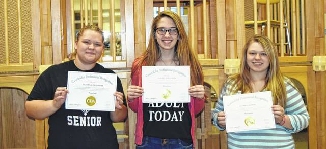 Three Laurel Oaks Career Campus students earned the Child Development Associate Credential, from left to right: Destanie McDaniel of Hillsboro, Hailey Appleman of Wilmington, and Sydnie Laymon of Washington Court House.