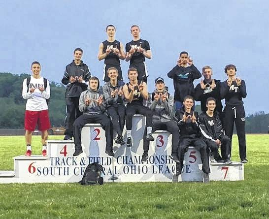 The Miami Trace Panthers won the final-ever South Central Ohio League track and field championship. The meet was held May 9 and 11, 2017 at Hillsboro High School. Pictured are team members who were there after the meet Thursday. (front, l-r); Drake Litteral, Jake Atwood, Noah Wiseman, Elijah Sauceda, Wyatt Cory, Henry DeBruin; (back, l-r); Blake Pittser, Simon DeBruin, Nick Foody, Brandon Arledge, Malik Jackson, Trenton Crawford, and Jotham Lewis.