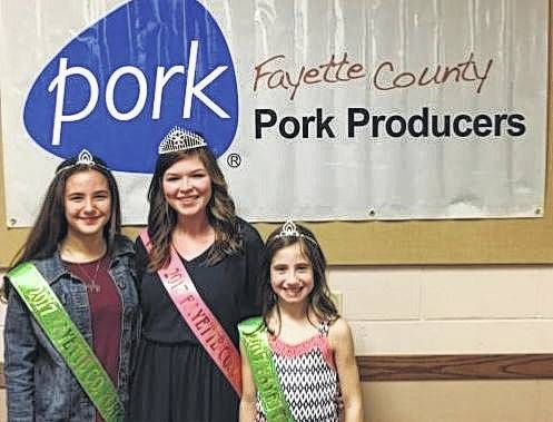 The 2017 Fayette County Pork Queen and Princesses were announced recently during the Fayette County Pork Producers' annual banquet. Pictured (L to R): princess Shelby Mayer, queen Kendal May and princess Emily Reeves.