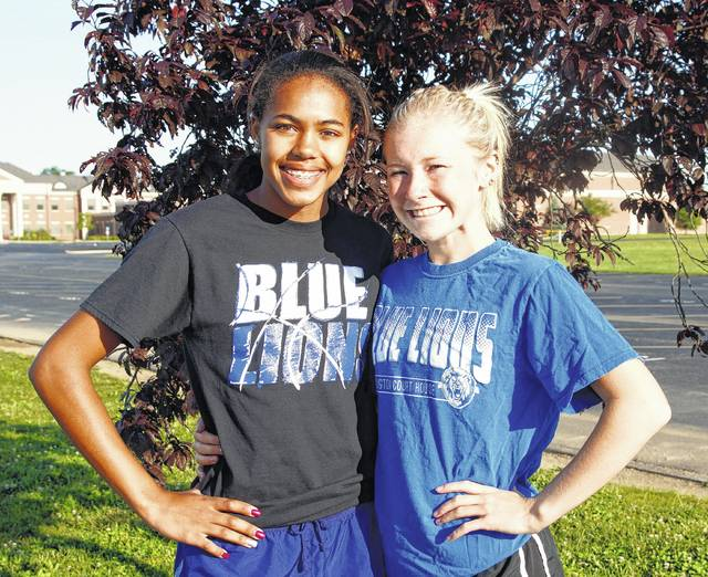 Rayana Burns, left and Maddy Garrison are State-qualifiers for track and field for Washington High School for 2017. Burns, a freshman, is the first WHS female athlete to qualify to the State meet in four events: the 100, 200 and 400-meter dashes and the high jump; and Garrison, a junior, is making her second appearance at the State meet, her first in the 1600-meter run.