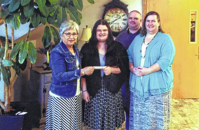 The Fayette County Retired Teachers Association (FCRTA) presents a $1,000 scholarship each year to a graduating senior entering the field of education in college. This year's recipient was Mary Beth Jenkins of Miami Trace. Jenkins will be attending Grace College in Winona Lake, Ind., majoring in elementary education and intervention. Jenkins has already completed two years of advanced placement classes at Cedarville University and will enter college as a sophomore. High school students in the area are fortunate that many take advantage of college courses while still attending high school. Jenkins is pictured with her parents, Brian and Mindy Jenkins, and FCRTA member Barbara Black.