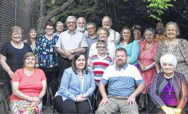 Members and guests at a recent Society meeting: seated left to right, Pam Rhoades, Heather White, Casey Miller, and Peggy Lester. Standing left to right, President Sue Gilmore, Sandy Kelly, Amber White, Danny Gilmore, Doug White, Glenn Rankin, Chad White, Cathy White and grandson Will White, Jack Witherspoon, Tracey Coe, Jill Roberts, Phyllis Rankin, Butch Roberts, and Beth Higman.