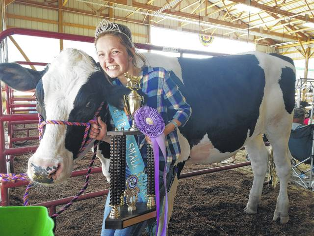 Abigail Riley won the Reserve Champion Dairy Steer prize Wednesday. Riley is also the 2017 Small Animal Queen.