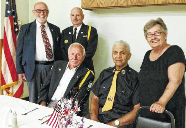 From left to right, veteran Paul Sands (Legion Post No. 25 Boys State Chairman), veteran David Fredrick (Boys State Committee Member), [seated] veteran Ed Fisher (Boys State Committee member), veteran Charles (Buck) Harris (Legion Post No. 25 District Boys State chairman) and Patti DeWees (Boys State Committee member).