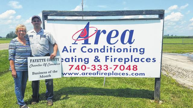 Staying cool in the hot summer months is important. That's why the Chamber ambassador team named Area Heating & Cooling its July Business of the Month. The company has been in business for 34 years and is under the management of Sean Peters, a second generation family owner. His staff of eight provide sales and service of air conditioners, heaters, generators, fireplace units, tankless water heaters and more. Visit Area Heating Cooling at 1628 State Route 38 or give them a call at (740) 333-7048.