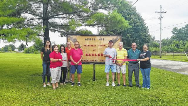 Ambassadors from the Fayette County Chamber of Commerce recently welcomed the Fraternal Order of Eagles- Fayette Aerie #423 to the Chamber.