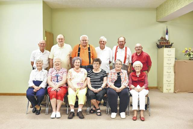 Simon Kenton High School Class of 1956 recently celebrated its reunion. Pictured: first row: Evalind Ellis Pickering, Mary Jane Bean Bentley, Shirley Cassidy Smith, Sally Curtis Deprez, Sandra McCall Rutherford and Shirley Young Rittenhouse. Second row: Marvin Bond, David Huff, Bill Smith, Wayne Pinkerton, Jim Georges and Dick Leslie.