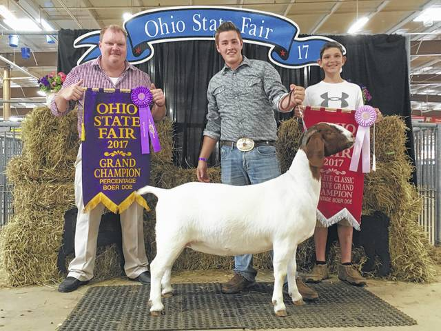 Drew Pontious (far right), pictured with his cousin Chas Grover, had the Grand Champion Percentage Boer Doe in the Open show, Reserve Grand Champion Percentage Boer Doe in the Buckeye Classic, and Reserve Yearling Champion Percentage Boer Doe in the Jr Show during the 2017 Ohio State Fair. Pontious also was fourth in intermediate breeding showmanship and was third place in breeding showmanship in his age division.