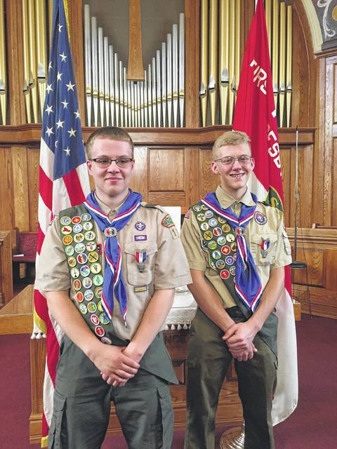 From left to right, Ryan Arledge and Nate Horton were presented the Eagle Scout Rank, the highest award in the BSA, at a ceremony held at the First Presbyterian Church.